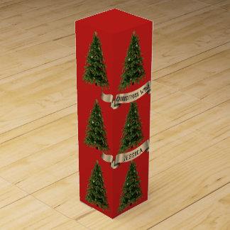 Custom Christmas Tree Red Wine Gift Box