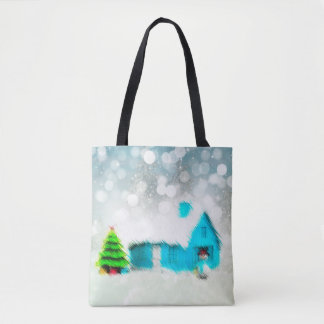 Custom Christmas Tree Snow Man House Tote Bag