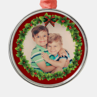 Custom Christmas Wreath Add Your Own Photo Red Christmas Ornament