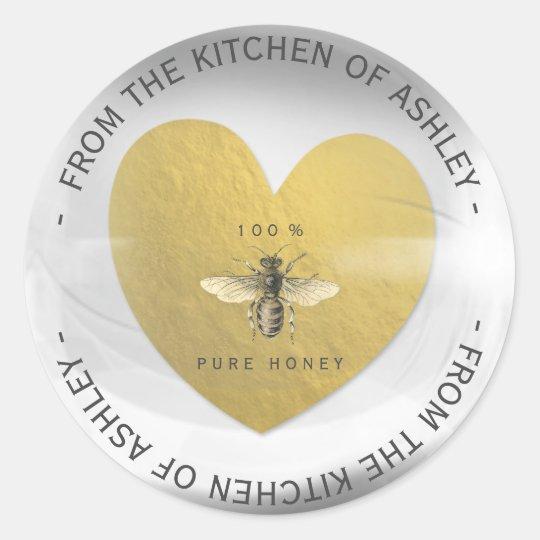 Custom Circular Homemade Honey Bee Heart Glass Classic
