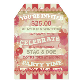 Custom Circus Stag & Doe Ticket Invitations 13 Cm X 18 Cm Invitation Card