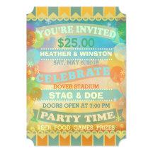 Custom Circus Stag & Doe Ticket Invitations