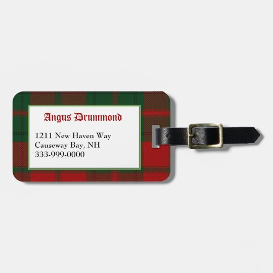 Custom Clan Drummond Tartan Plaid Luggage Tag