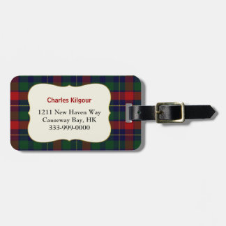 Custom Clan Kilgour Tartan Plaid Luggage Tag