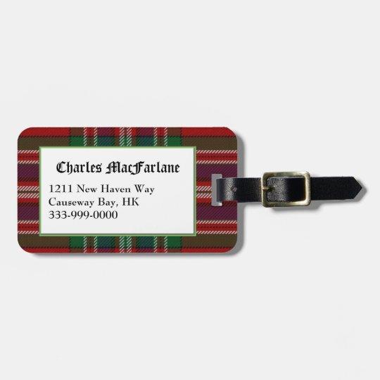 Custom Clan MacFarlane Tartan Plaid Luggage Tag