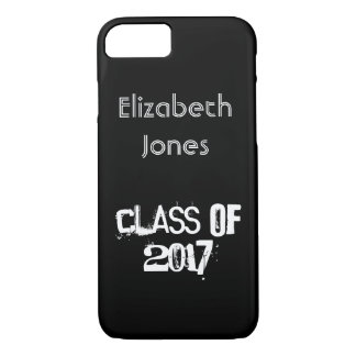 Custom Class of 2017 Name Black and White Text iPhone 8/7 Case