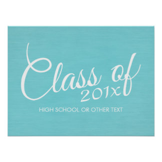Custom Class of for Graduation or Reunion Aqua Poster