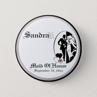 Custom Classic Black White Maid Of Honor Button