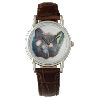 Custom Classic Brown Leather Cat Wrist Watch