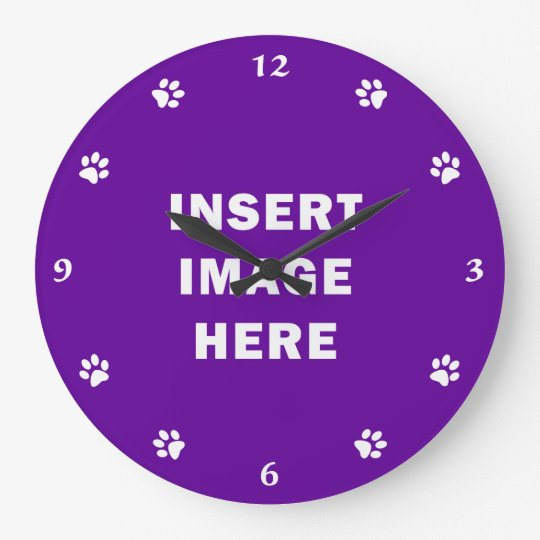 Custom Clock Template White Numbers and Paw Prints