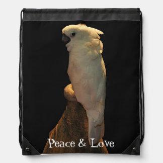 Custom cockatoo bird posing in the night cinch bag