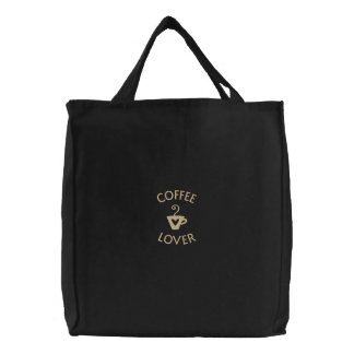 Custom Coffee Lover's Embroidered Bag