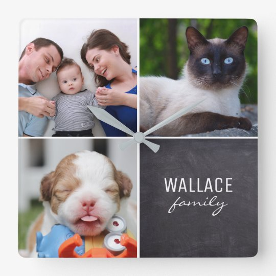 Custom Collage 4 Photos, Personalised, chalked Square Wall Clock