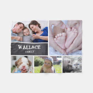 Custom Collage 5 Photos, Personalized, chalked Fleece Blanket
