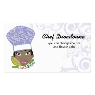 Custom color African American woman chef herbs Business Card Templates