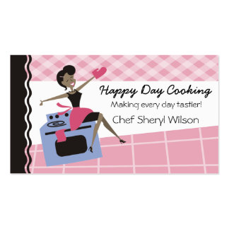 Custom color African American woman oven cooking Business Cards