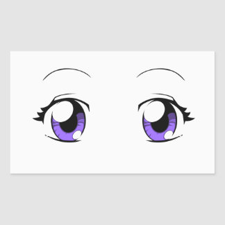 Custom Color Anime Girl Eyes Rectangular Sticker