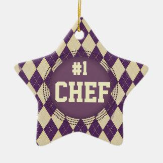 Custom color argyle #1 Chef Christmas ornament