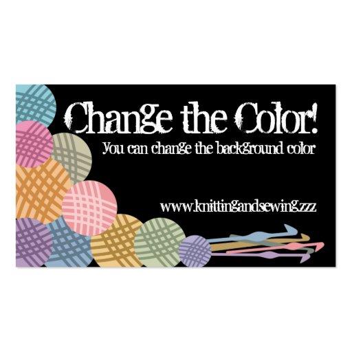 Custom color balls of yarn crochet hooks biz cards business card template