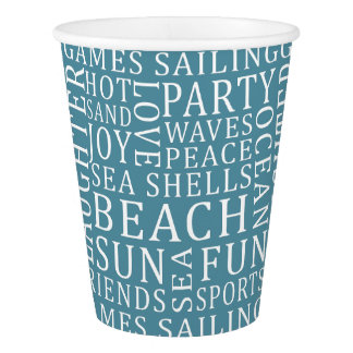 Custom Color Beach House paper cups