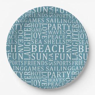 Custom Color Beach House paper plates