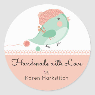 Custom color bird knitting needles crochet hooks classic round sticker