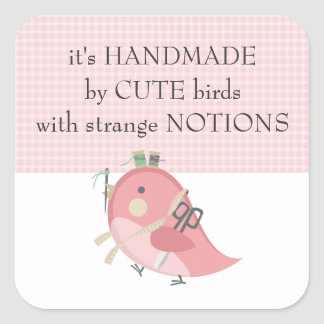 Custom color bird seamstress sewing notions label square sticker