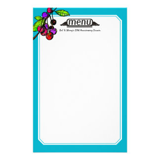 Custom color bright cherries baking bakery cooking personalised stationery