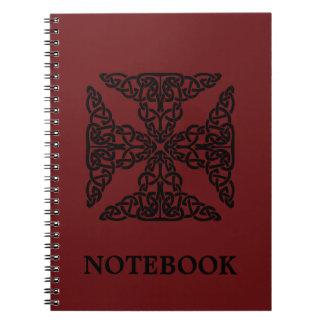 Custom Color Burgundy Celtic Knots/Cross Notebook