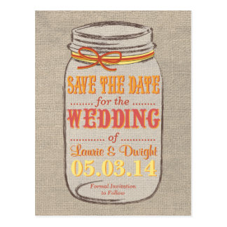 Custom Color Burlap Mason Jar Save the Date Postcard