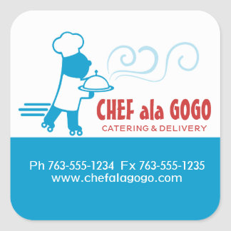 Custom color chef skates food delivery catering square sticker