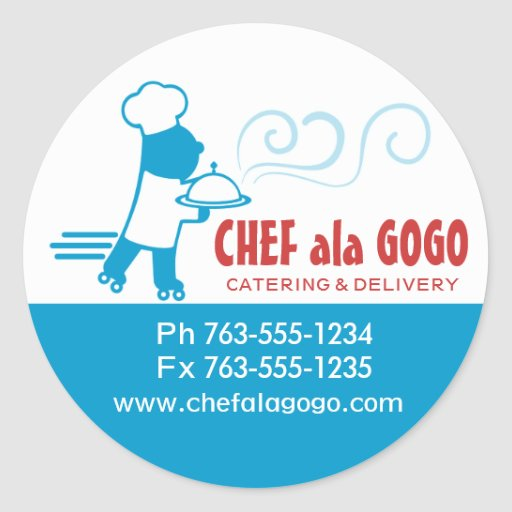 Custom color chef skates food delivery catering round stickers