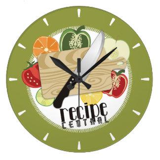 Custom color chefs knife sliced food kitchen clock