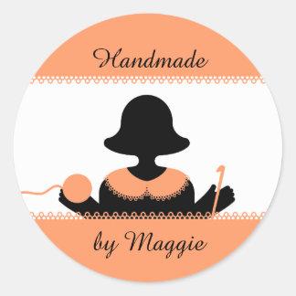 Custom color crochet hook tatting girl silhouette stickers
