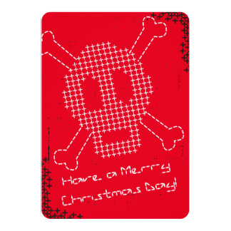 Custom color cross stitch embroidery skull bones 13 cm x 18 cm invitation card
