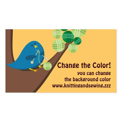 Custom color cute blue bird knitting needles yarn business cards