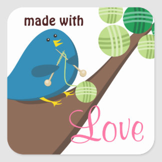 Custom color cute blue bird knitting needles yarn square sticker