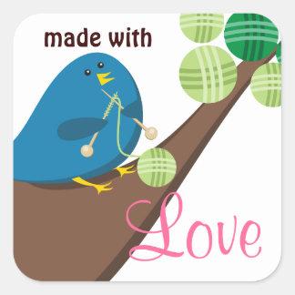 Custom color cute blue bird knitting needles yarn sticker
