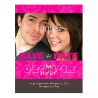 Custom Color, Damask/ Photo Save the Date Postcard