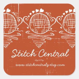 custom color doodle crochet hooks ball of yarn square sticker