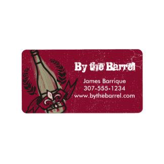 Custom color doodle French vineyard homemade wine Address Label