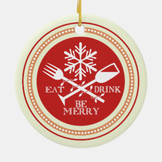 Custom color eat drink be merry Christmas ornament