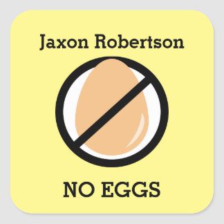 Custom Color Egg Allergy Alert Personalized Kids Square Sticker