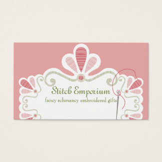Custom color embroidery needle thread sewing business card