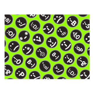 custom color emoticon polka dots post card