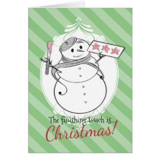 Custom color French pastry chef snowman cookies Greeting Card