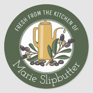 Custom color from the kitchen of olive branch oil classic round sticker