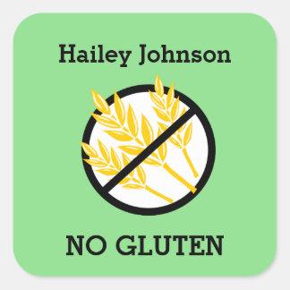Custom Color Gluten Wheat Celiac Personalized Kids Square Sticker