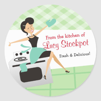 Custom color housewife cooking baking food label round sticker
