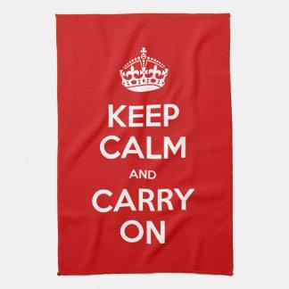 Custom Color Keep Calm and Carry On Tea Towel